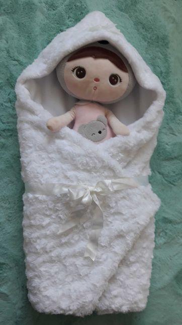 Kocyk rożek do otulenia na chrzest