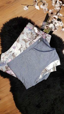 Cudny zestaw:) cygaretki w kwiaty bluzeczka lustrzane rękawki M