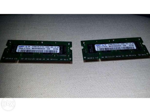 """""""Portátil"""" Memórias Sansung 512MB 2RX16 PC2 x 2"""