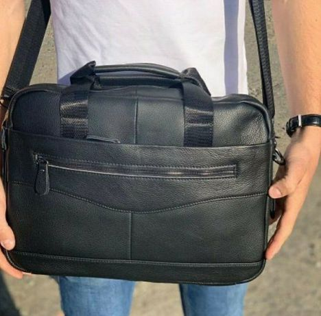 Шкіряна сумка для ноутбука 15 дюймів, ля документів А4 формату