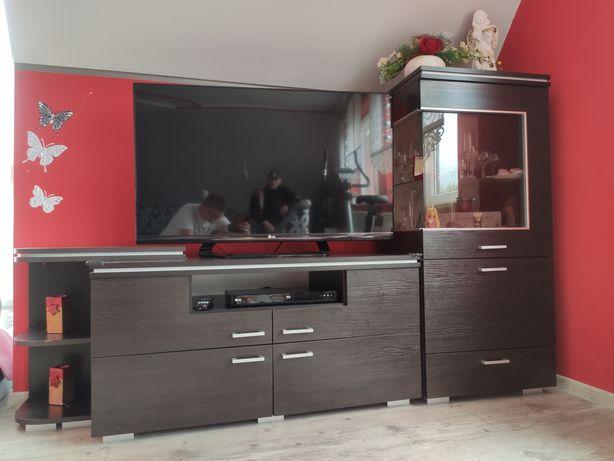 Meble salon RTVka witryna komoda narożna stół venge