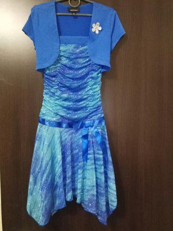 Нарядное праздничное платье. Клинья, в блёстках, на 9-10 лет,цена сниж