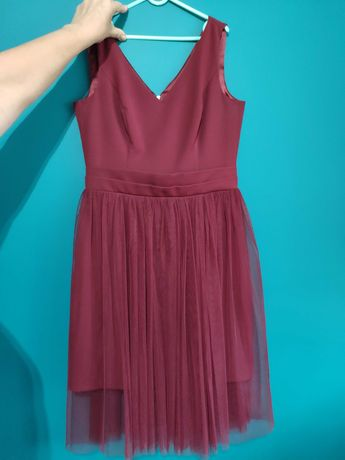 Sukienka bordowa tiulowa