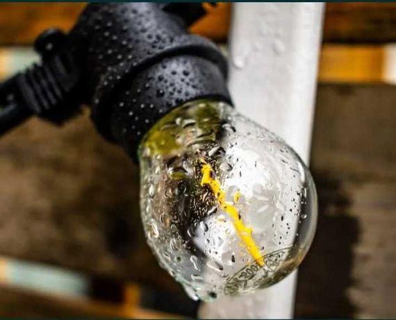 Girlanda ogrodowa wodoodporna 20m żarówki E27 --1,3W-- okazja ! ZESTAW