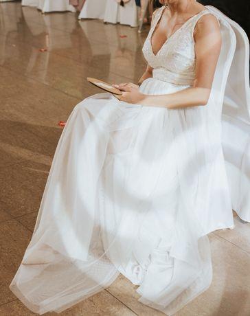 Biała sukienka ślubna S koronka tiul suknia rozporek A boho