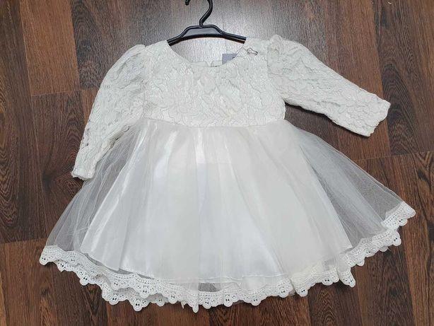 Biała Sukienka 86 92 Na Roczek Koronkowa Drużka Z Kokardą Nowa