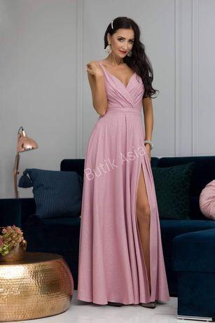 Sukienka długa maxi brokatowa,pastelowa 36,38,40,42 wesele piękna