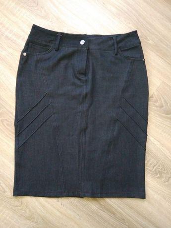Чорна джинсова спідниця черная джинсовая юбка 42