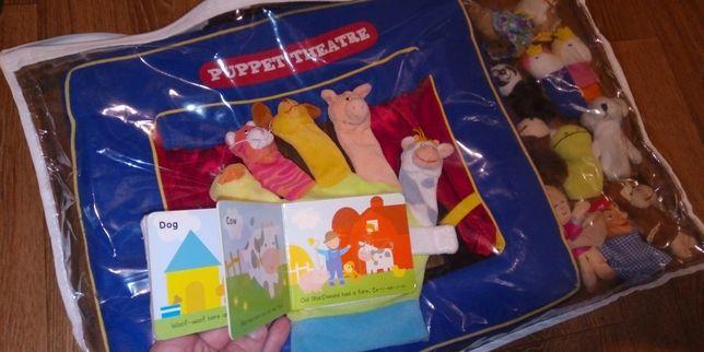 Пальчиковый театр со сценой, сумочкой, книжечкой-перчаткой +12 фигурок