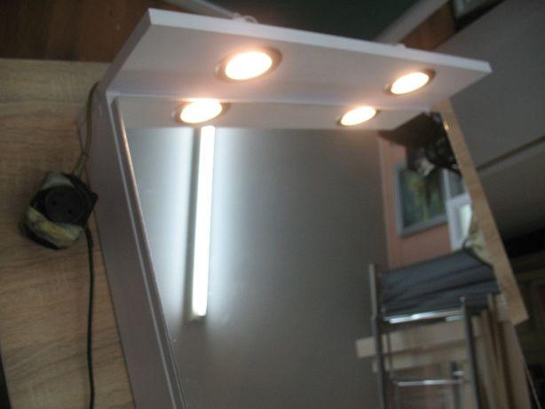 lustro łazienkowe z szafką i oświetleniem