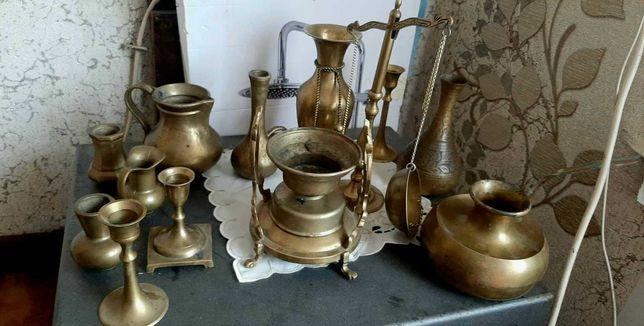 Piekne stare mosiężne ozdobne świeczniki wazony i waga -TANIO mosiądz!
