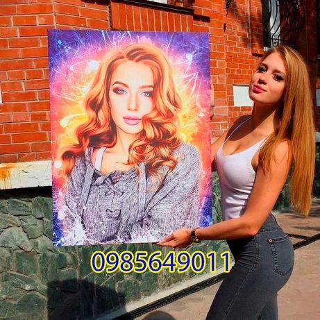 Картина по фото портрет на холсті друк подарунок замовлення фотографії