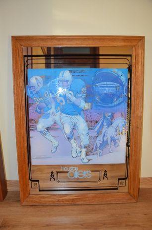 Unikatowy obraz na szkle. Kanada. NFL houston oilers. STAMFORD Art
