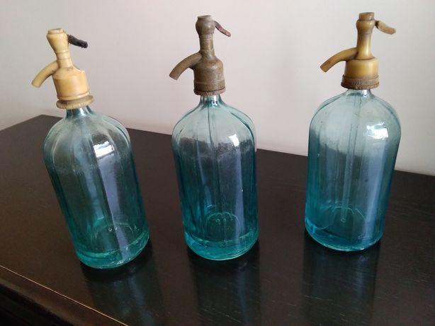Syfon szklany PRL - cena za 3 szt - vintage, loft, retro