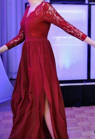 Bordowa sukienka maxi rozmiar 38 marki Małgorzata