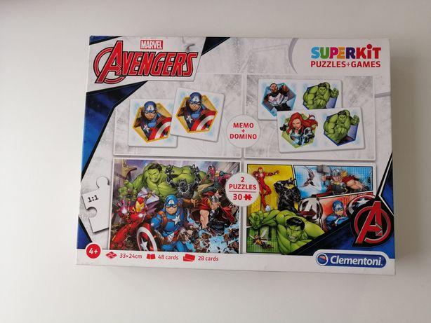 Avengers Clementoni 2xpuzzle po 30 elementów, memo i domino