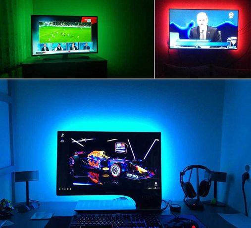 Fita de LED multicor (RGB) para LCD e TV USB 5v c/ controlador - novo