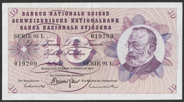 banknot Szwajcaria 10 frank 1974 - Keller - stan bankowy - UNC -