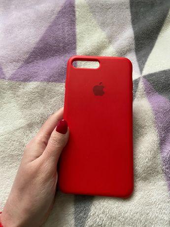 Красный силиконовый чехол на iPhone 7 Plus / 8 Plus +