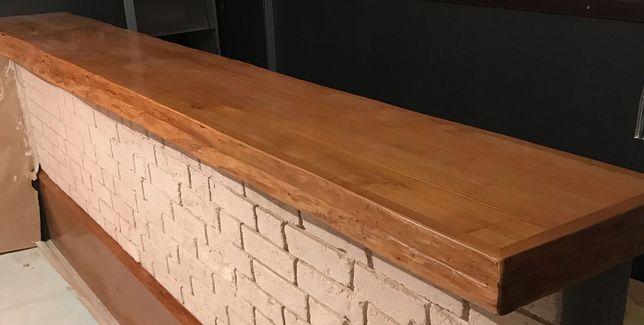 Столешница для барной стойки из натурального дерева с LED подсветкой