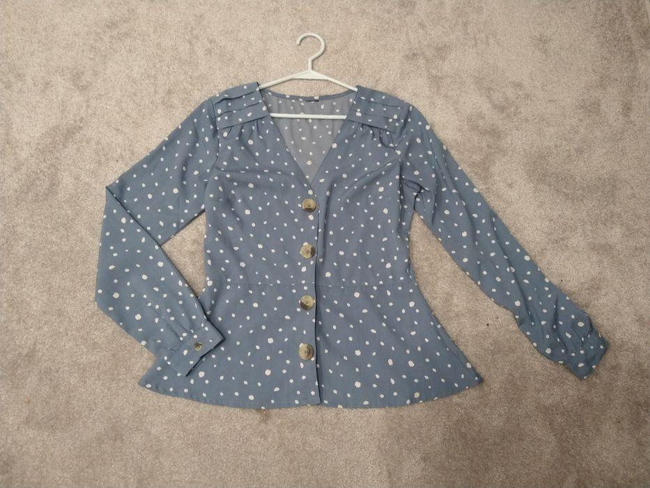 Bluzka koszula damska rozpinana kropki błękitna M 38 elegancka Ełk - image 1