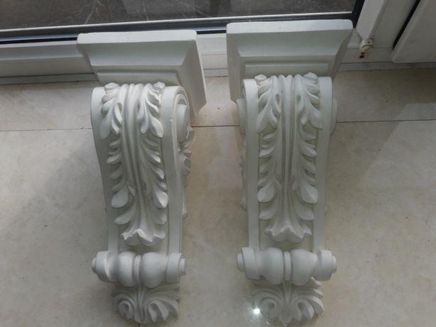 Лепной декор, гипсовая консоль декоративная 130 х130 х 300 мм, 2 шт.