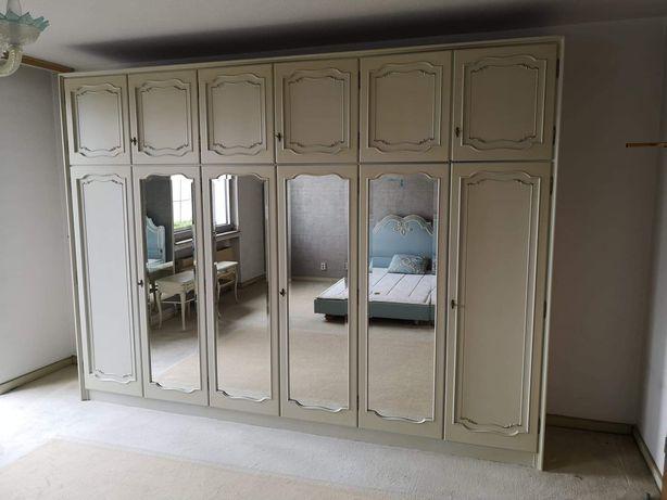 Wielka stylowa szafa 6-drzwiowa z lustrami, biała ecru