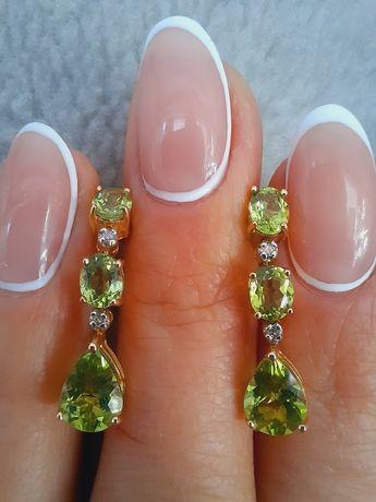 Сережки серьги золото золотые перидот хризолит оливин зеленый салатовы