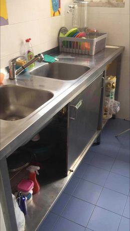 Bancada de Cozinha com duas cubas em INOX