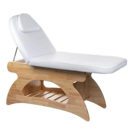 Z dowozem Łóżko do masażu drewno plus biała skóra, regulowane