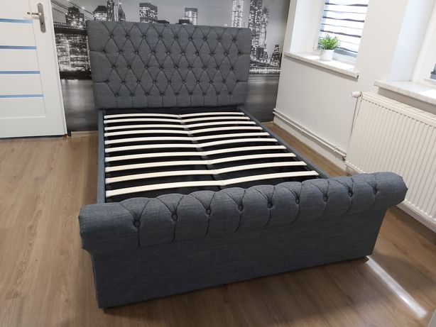 Nowe łóżko tapicerowane szary materiał 140x200