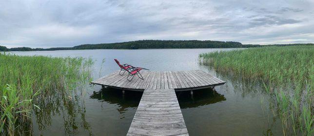 Domek nad jeziorem pomost linia brzegowa duża działka 6 osób !!