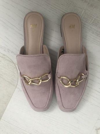 Mule laczki buty na wiosnę lato pudrowy róż h&m