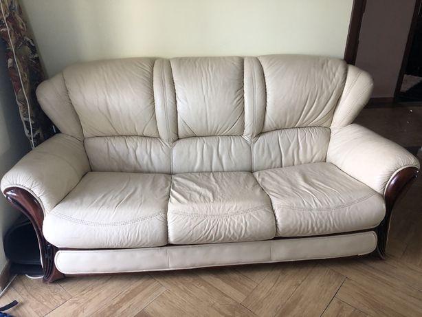Skórzany komplet wypoczynkowy sofa+2 fotele+ 2 pufy
