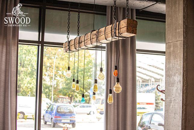 "Rustykalna lampa ""Zagórz"" loft - lampa z belki - retro - edison SWOOD"