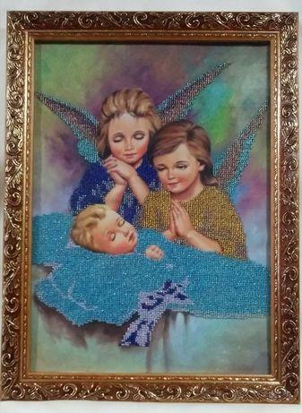"""В детскую комнату картина """" Ангелы"""" (30×40 см) вышитая бисером"""