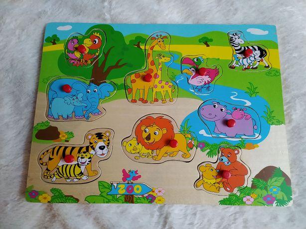 Drewniane zabawki - puzzle zwierzątka z ZOO + drewniana gąsieniczka