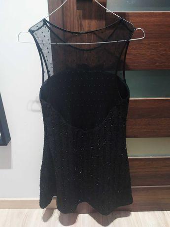 Czarna mieniąca się sukienka z cekinami ZARA
