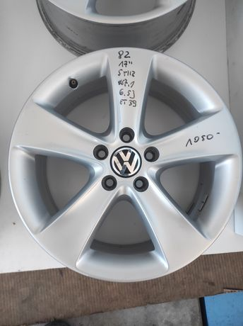 82 Felgi aluminiowe ORYGINAŁ VOLKSWAGEN R 17 5x112 otwór 57,1