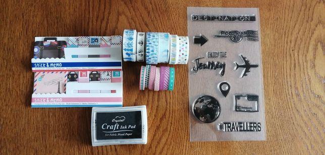 Bullet Journal taśma washi, scrap booking, stemple-zestaw