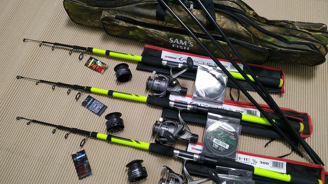 Карповый Набор. Набор для рыбалки. Спининги+катушки+ подставки+ леска