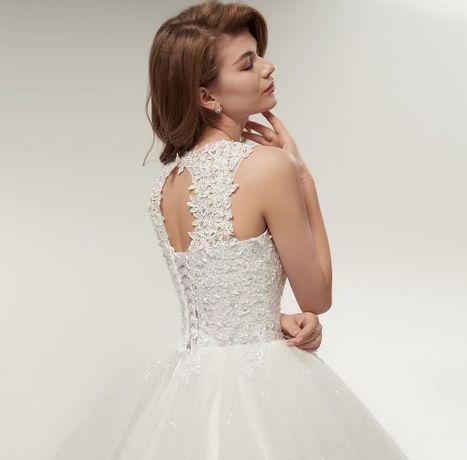 śliczna suknia ślubna princessa koronka wesele 34, 36, 38, 40, 44, 46