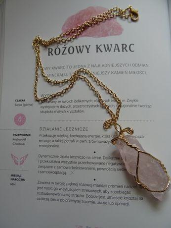 pozłacany naszyjnik kamień naturalny surowy kryształ kwarc różowy