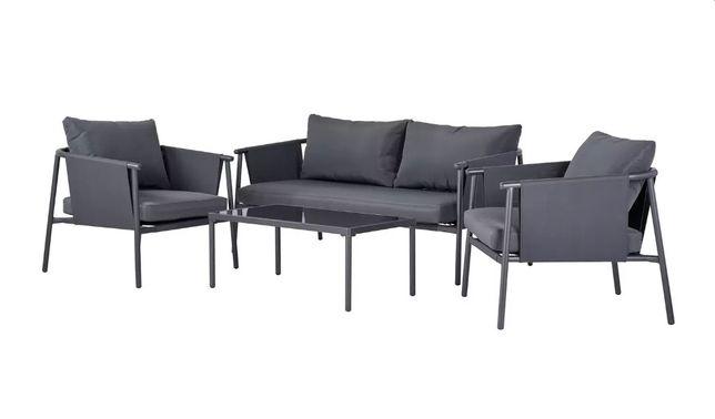 Meble Ogrodowe KOMOE Sofa + 2 Fotele + Stolik kawowy + Grube Poduszki