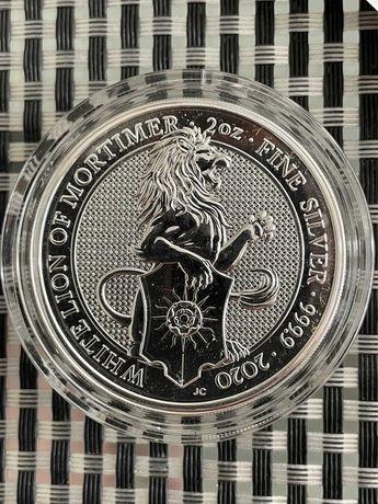 """Срібна монета Білий Лев Мортімера 2 УНЦІЇ серія """"Звірі Королеви"""""""