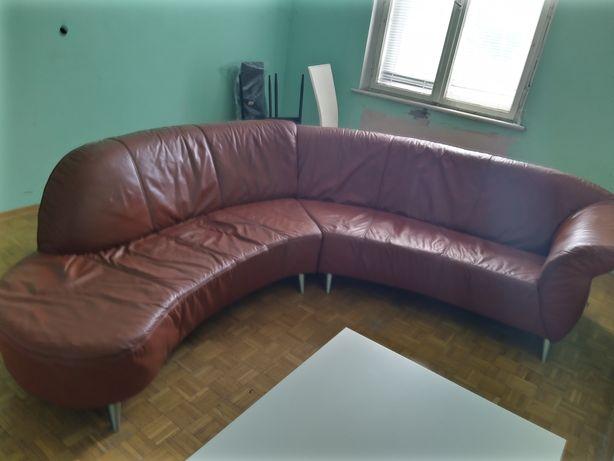 Sofa ze skory naturalnej 4m długości