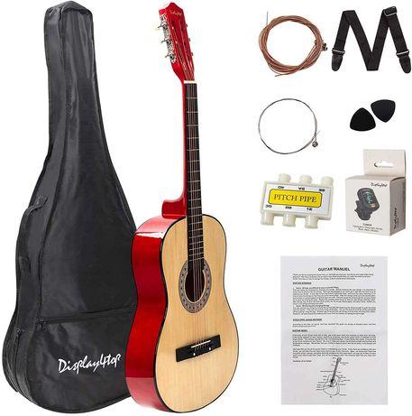 Gitara akustyczna dla początkujących pudło komplet stroik pokrowiec