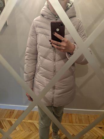 Розовый супер теплый пуховик Остин куртка на пуху ostin с капюшоном