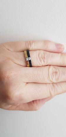 Pierścionek dwukolorowy obrączka Elixa
