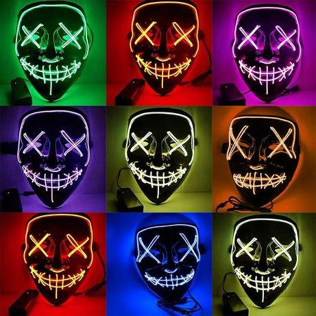Светящаяся неоновая маска, судная ночь, Гая Фокс, хеллоуин